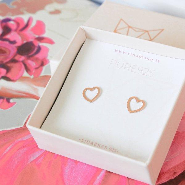 Rožinio aukso auskarai ŠIRDYS