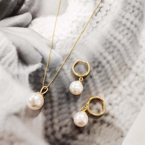 Auksuoto sidabro perlų vėrinys ir auskarai
