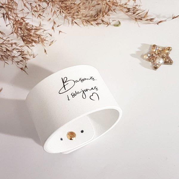 Balta odinė apyrankė su individualiu graviravimu 4cm