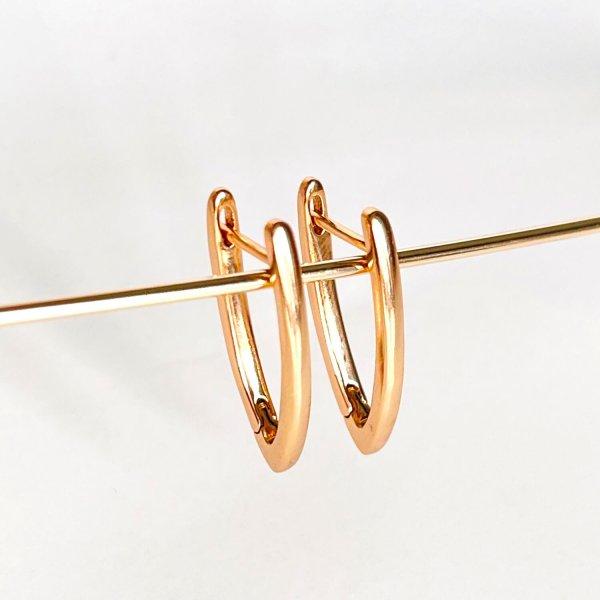 V formos auskarai rausvo aukso spalvos