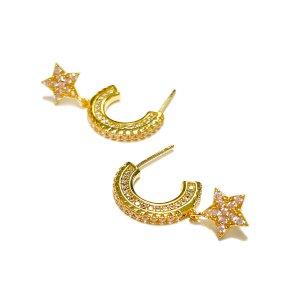 Auksuoti auskarai su cikroniais STARS